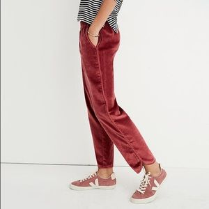 Madewell Track Trousers in Velvet size Large